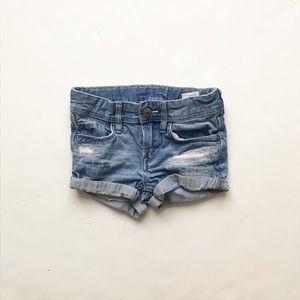 H&M blue denim distressed rolled shorts EUC 1.5-2Y
